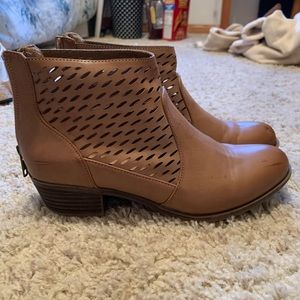brown leather mini boots